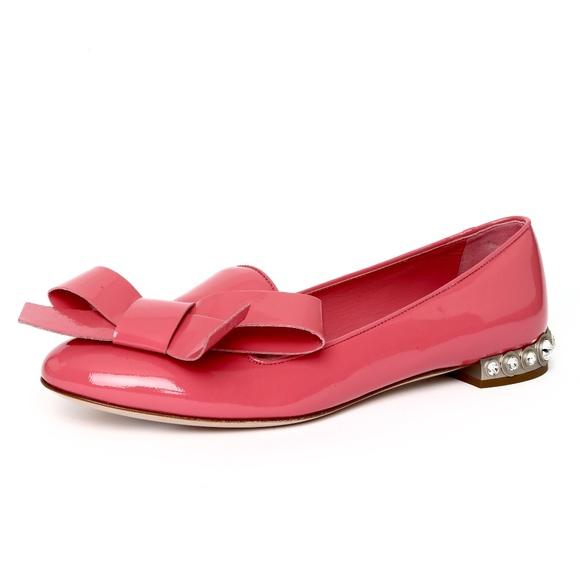 ed9eb1f95750 Miu Miu Pink Jewel Heel Patent Bow Flats 7.5